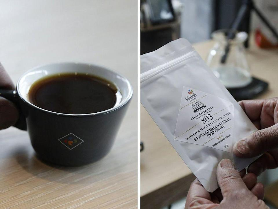 Photos of the 'Elida Natural Geisha' coffee, touted as the 'world's most expensive coffee' at $110 a cup.
