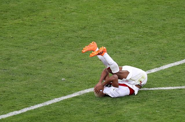 Soccer Football - World Cup - Group C - Peru vs Denmark - Mordovia Arena, Saransk, Russia - June 16, 2018 Peru's Andre Carrillo looks dejected after the match REUTERS/Ricardo Moraes TPX IMAGES OF THE DAY