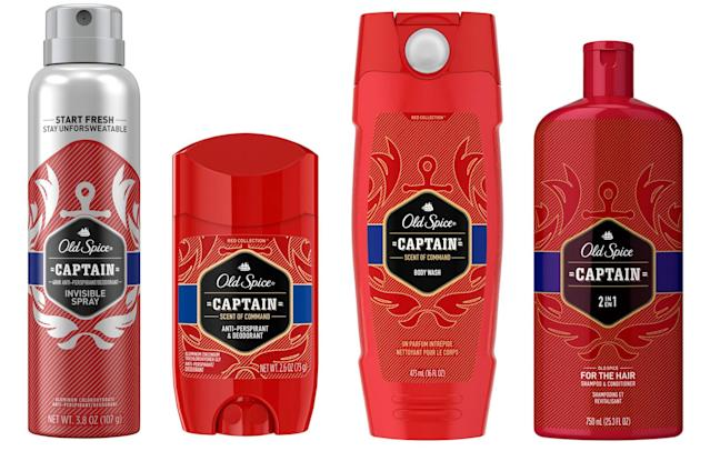 From left: Old Spice Captain Invisible Spray, Anti-Perspirant & Deodorant, Body Wash, and For the Hair Shampoo & Conditioner. (Photo: Old Spice)