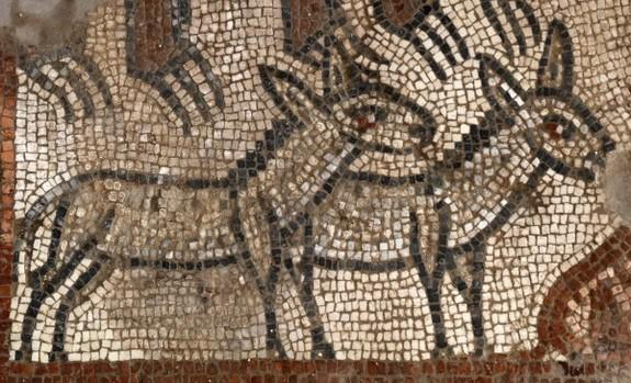 The Noah's ark mosaic included pairs of animals, such as lions, leopards, bears, and donkeys.