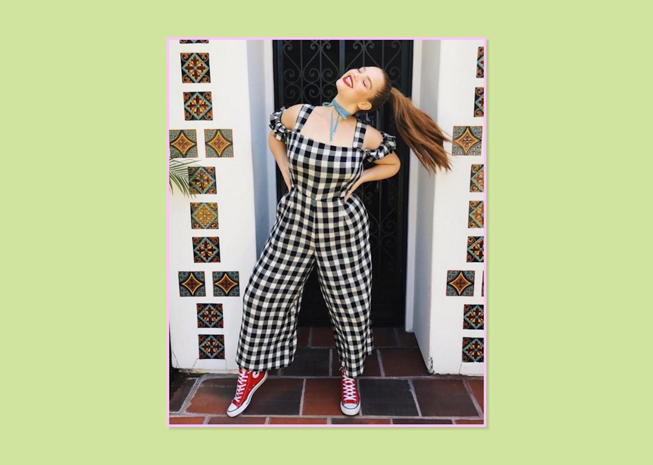 "<p><a rel=""nofollow"" href=""https://www.instagram.com/p/BS6dncDjMj8/""><strong>Bree Kish</strong></a><br />Nothing says warm weather more than gingham print anything. Try rocking a gingham jumpsuit and red Converse for an Insta casual look like this one. </p>"