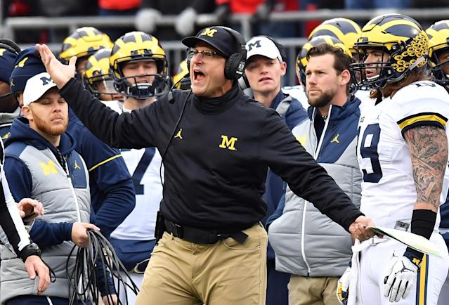 In four tries as head coach at Michigan, Jim Harbaugh has yet to beat Ohio State. (Photo by Jamie Sabau/Getty Images)