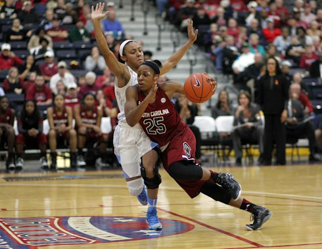 South Carolina's Tiffany Mitchell (25) drives to the basket as North Carolina's Latifah Coleman defends during an NCAA college basketball game in Myrtle Beach, S.C., Wednesday, Dec. 18, 2013. (AP Photo/Willis Glassgow)