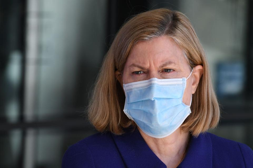 NSW Chief Health Officer Dr Kerry Chant lamented that close contacts doubled overnight. Source: Getty