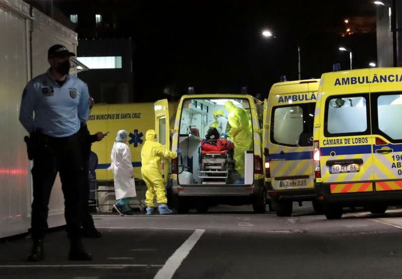 An ambulance carrying a transferred COVID-19 patient from Lisbon arrives at Nelio Mendonca Hospital in Funchal, amid the coronavirus disease (COVID-19) pandemic, in Funchal, on the island of Madeira