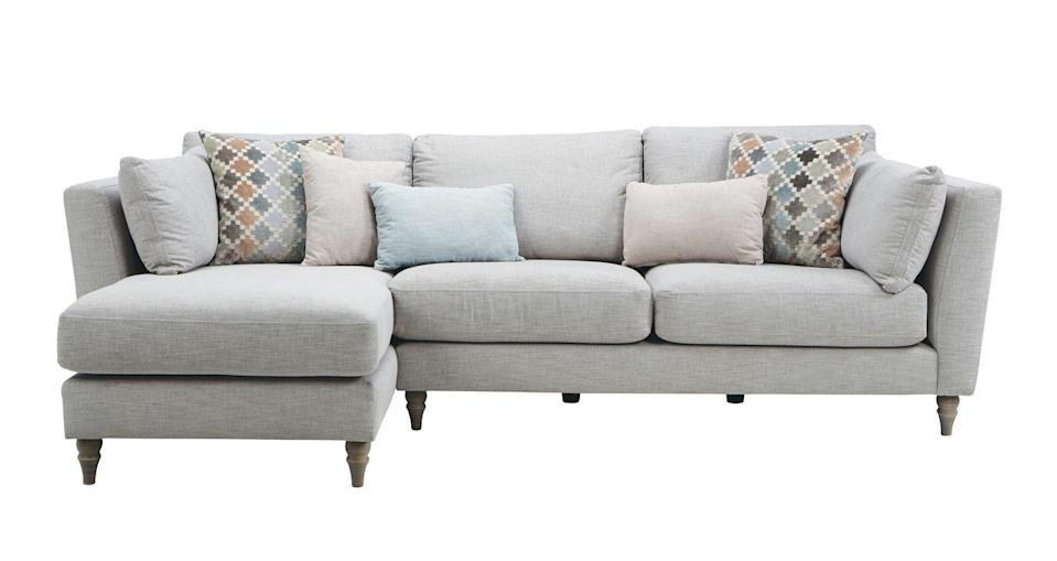 """<p>Effortlessly elegant, Claudette chaise sofa is upholstered in super-soft linen-viscose and comes with turned wooden feet, delicately sloping arms, pillow-back cushions and an extended chaise. Available in eight colours.</p><p><a class=""""link rapid-noclick-resp"""" href=""""https://www.dfs.co.uk/claudette/cld74aude"""" rel=""""nofollow noopener"""" target=""""_blank"""" data-ylk=""""slk:SHOP NOW"""">SHOP NOW</a></p>"""