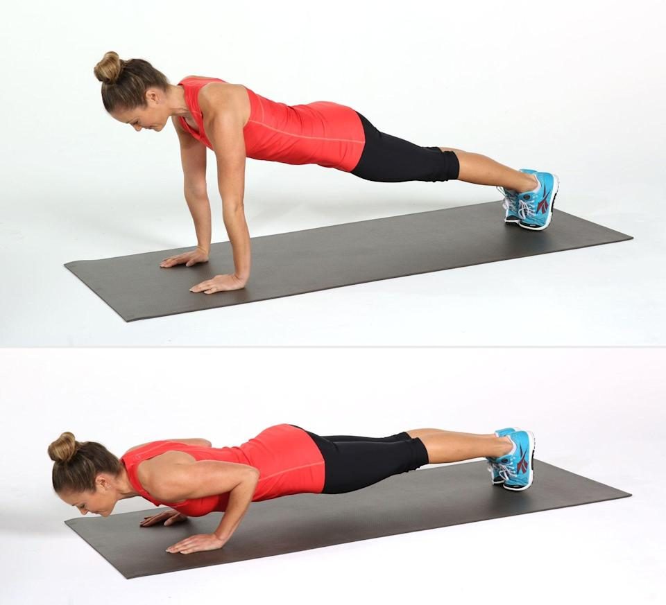 """<p>Traditional push-ups are great, but several trainers said negative push-ups are even more effective. They """"strengthen the chest, shoulders, upper back, and triceps when done with correct alignment and proper form,"""" said <a href=""""http://pressroom.alvinailey.org/the-ailey-extension/faculty/karen-arceneaux"""" class=""""link rapid-noclick-resp"""" rel=""""nofollow noopener"""" target=""""_blank"""" data-ylk=""""slk:Karen L. Arceneaux"""">Karen L. Arceneaux</a>, an NASM-certified personal trainer at <a href=""""https://www.alvinailey.org/extension"""" class=""""link rapid-noclick-resp"""" rel=""""nofollow noopener"""" target=""""_blank"""" data-ylk=""""slk:Ailey Extension"""">Ailey Extension</a>. The difference? In this variation, """"you start at the top of the push-up position and slowly lower the body down.""""</p> <ul> <li>Start on your hands and knees, with your wrists under your shoulders and knees under your hips. Extend your legs behind you, coming onto your toes to come into a high plank position. Pull your core in toward your spine and make sure your shoulders and wrists are still aligned. This is your starting position.</li> <li>Take a breath in, and as you exhale, bend your elbows, slowly lowering your entire body all the way to the ground. This should be done very slowly, over the course of two to four seconds. Allow your shoulder blades to pinch in toward your spine and make sure to keep your core tight. Do your best not to let your torso collapse, making sure your whole body touches the floor at the same time.</li> <li>Return to the high plank starting position. You can either push yourself up with your arms like a push-up, or get on your hands and knees and reset. The point of the negative push-up is to emphasize the movement down to the ground, not the push back up.</li> <li>This counts as one rep. To modify, do this with your knees on the floor.</li> </ul>"""