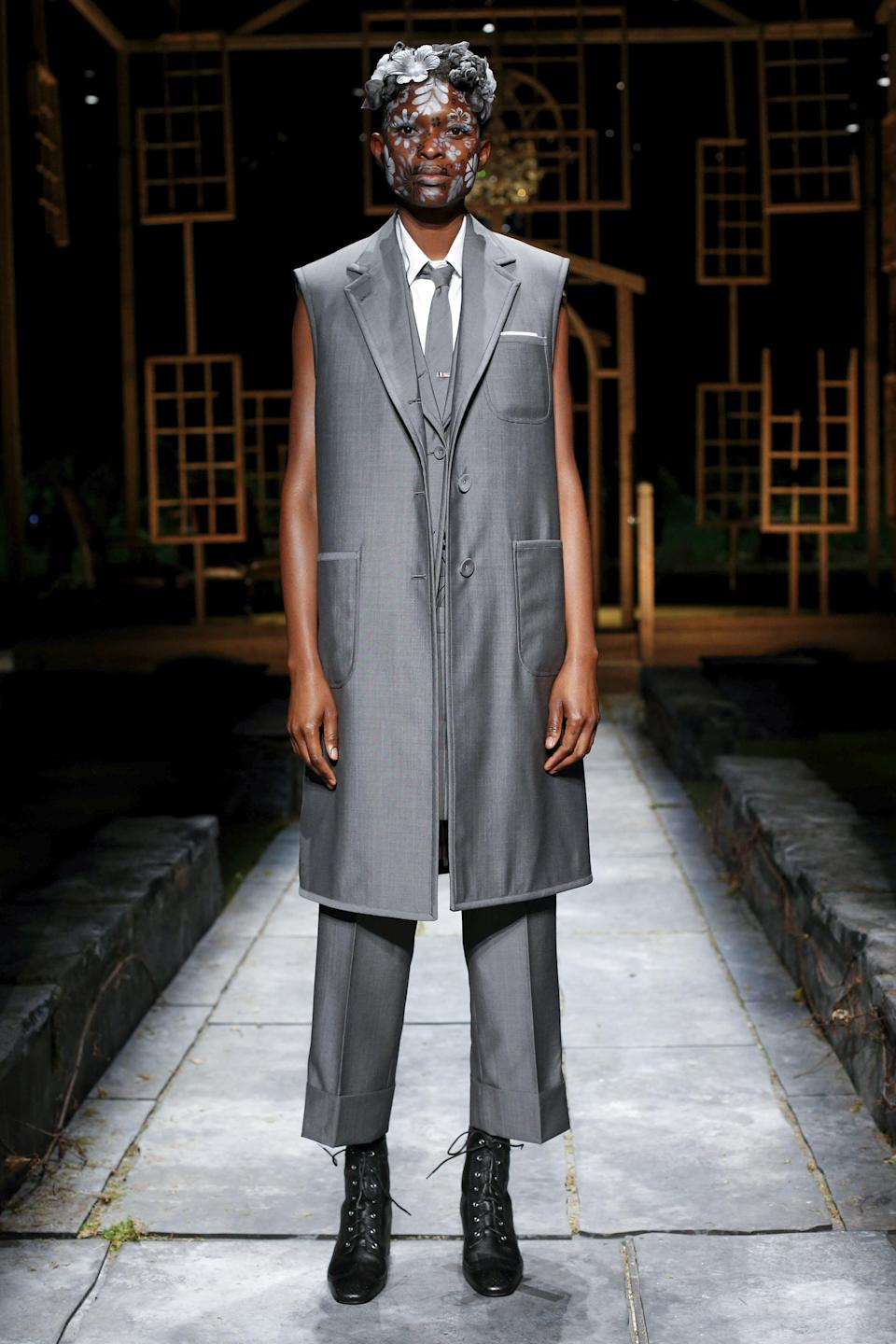"""<p>At this point, we're just waiting to see which Thom Browne look <a class=""""link rapid-noclick-resp"""" href=""""https://www.popsugar.com/Dan-Levy"""" rel=""""nofollow noopener"""" target=""""_blank"""" data-ylk=""""slk:Dan Levy"""">Dan Levy</a> is planning to wear next, and we'd be here for the photos of him in this sleeveless suit set from the spring 2022 runway. Based on the actor's well-documented history of wearing the brand's designs, we know he has a soft spot for clean lines, fluid dressing and sharp tailoring.</p>"""