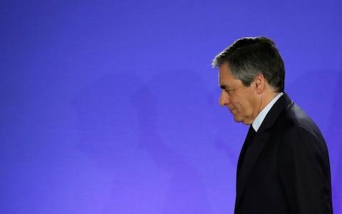 Fillon leaves the stage after delivering a speech upon losing in the first round of France's 2017 election - Credit: Rex