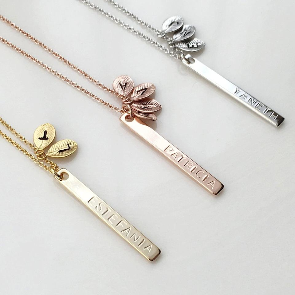 <p>These <span>Leaf Family Tree Necklaces</span> ($18 and up) will bring a smile to her face.</p>