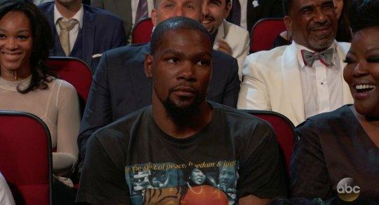 Kevin Durant fails to see the humor in your punchline, Peyton Manning. (Screencap via ABC)