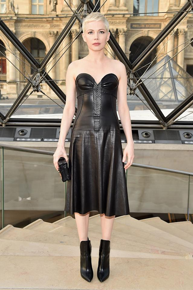 <p>Michelle Williams opted for a striking leather dress. <i>[Photo: Getty]</i> </p>