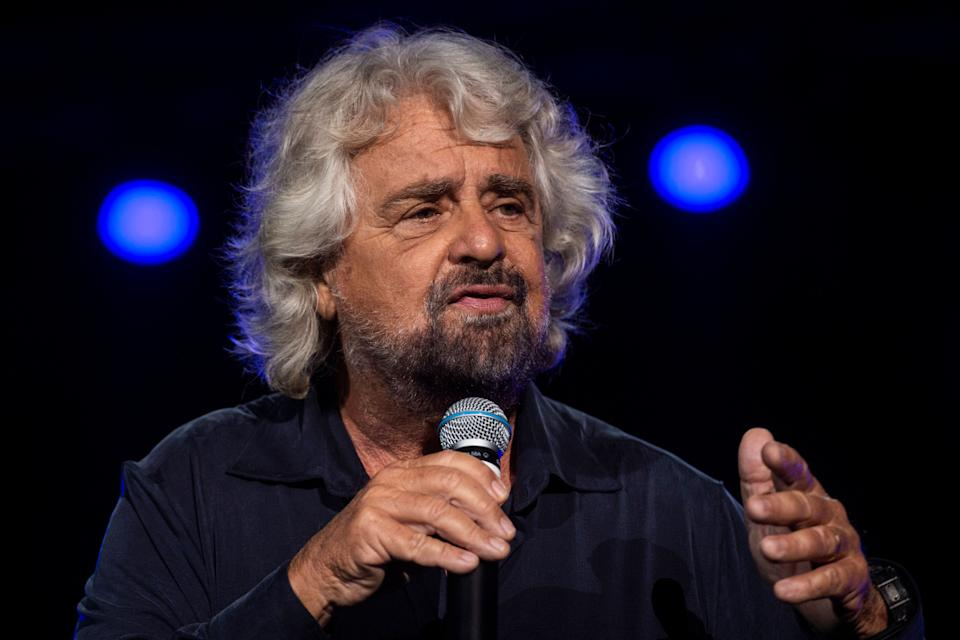 """NAPLES, ITALY - OCTOBER 12: Beppe Grillo founding member of the Movimento 5 Stelle (5 Star Movement) attends at """"Italy 5 Star Movement"""" meeting celebrates ten years of political activity on October 12, 2019 in Naples, Italy. (Photo by Ivan Romano/Getty Images) (Photo: Ivan Romano via Getty Images)"""