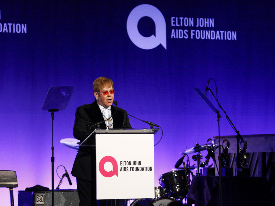 "Elton John speaks at the Elton John AIDS Foundation's 17th annual ""An Enduring Vision"" benefit gala at Cipriani 42nd Street on Monday, Nov. 5, 2018, in New York. (Photo by Andy Kropa/Invision/AP)"