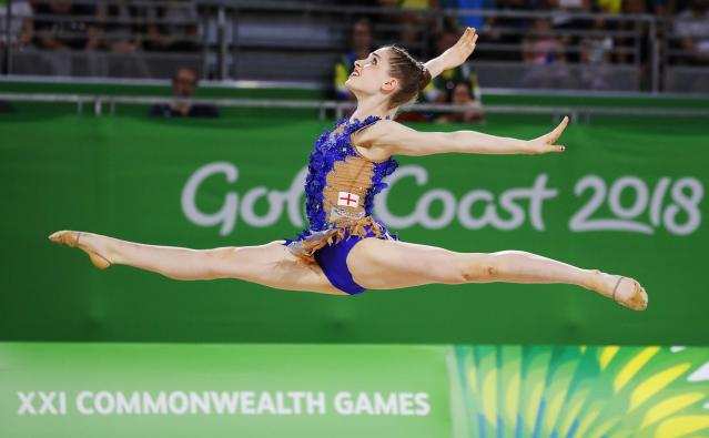 Rhythmic Gymnastics - Gold Coast 2018 Commonwealth Games - Individual Ball Final - Coomera Indoor Sports Centre - Gold Coast, Australia - April 13, 2018. Hannah Martin of England. REUTERS/David Gray