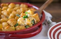 """<p>You know casseroles as a <a href=""""https://www.thedailymeal.com/recipes-weeknight-dinners-simple?referrer=yahoo&category=beauty_food&include_utm=1&utm_medium=referral&utm_source=yahoo&utm_campaign=feed"""" rel=""""nofollow noopener"""" target=""""_blank"""" data-ylk=""""slk:dependable weeknight dinner"""" class=""""link rapid-noclick-resp"""">dependable weeknight dinner</a>, but they're also holiday classics. In this dish, crispy tater tots are baked on top of cheesy broccoli and rice.</p> <p><a href=""""https://www.thedailymeal.com/recipes/cheesy-broccoli-tater-topped-casserole-recipe?referrer=yahoo&category=beauty_food&include_utm=1&utm_medium=referral&utm_source=yahoo&utm_campaign=feed"""" rel=""""nofollow noopener"""" target=""""_blank"""" data-ylk=""""slk:For the Cheesy Broccoli Tater-Topped Casserole recipe, click here."""" class=""""link rapid-noclick-resp"""">For the Cheesy Broccoli Tater-Topped Casserole recipe, click here.</a></p>"""