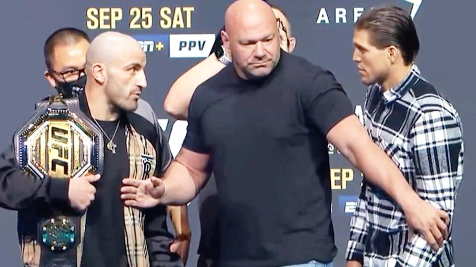 ahead of their UFC featherweight title fight.