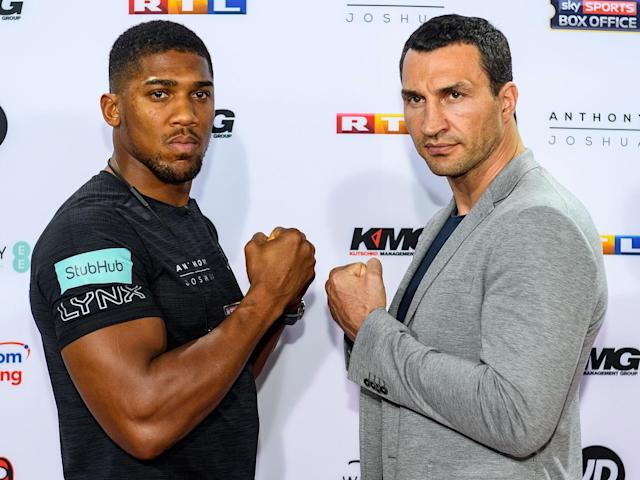 Anthony Joshua and Wladimir Klitschko face off on April 29: Getty