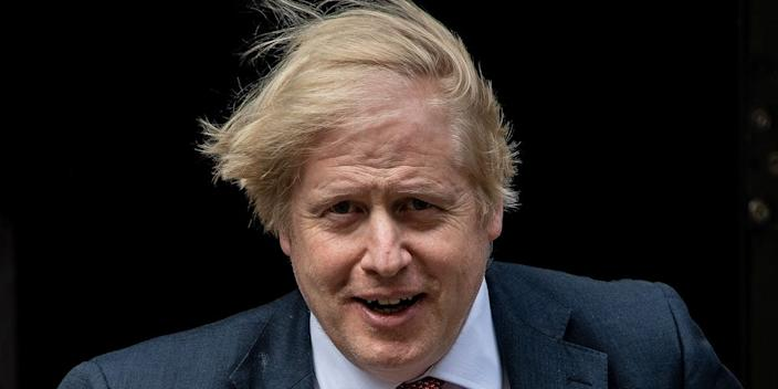 British Prime Minister Boris Johnson leaves 10 Downing Street to make a statement on Coronavirus to MPs at Houses of Parliament on May 11, 2020 in London, United Kingdom
