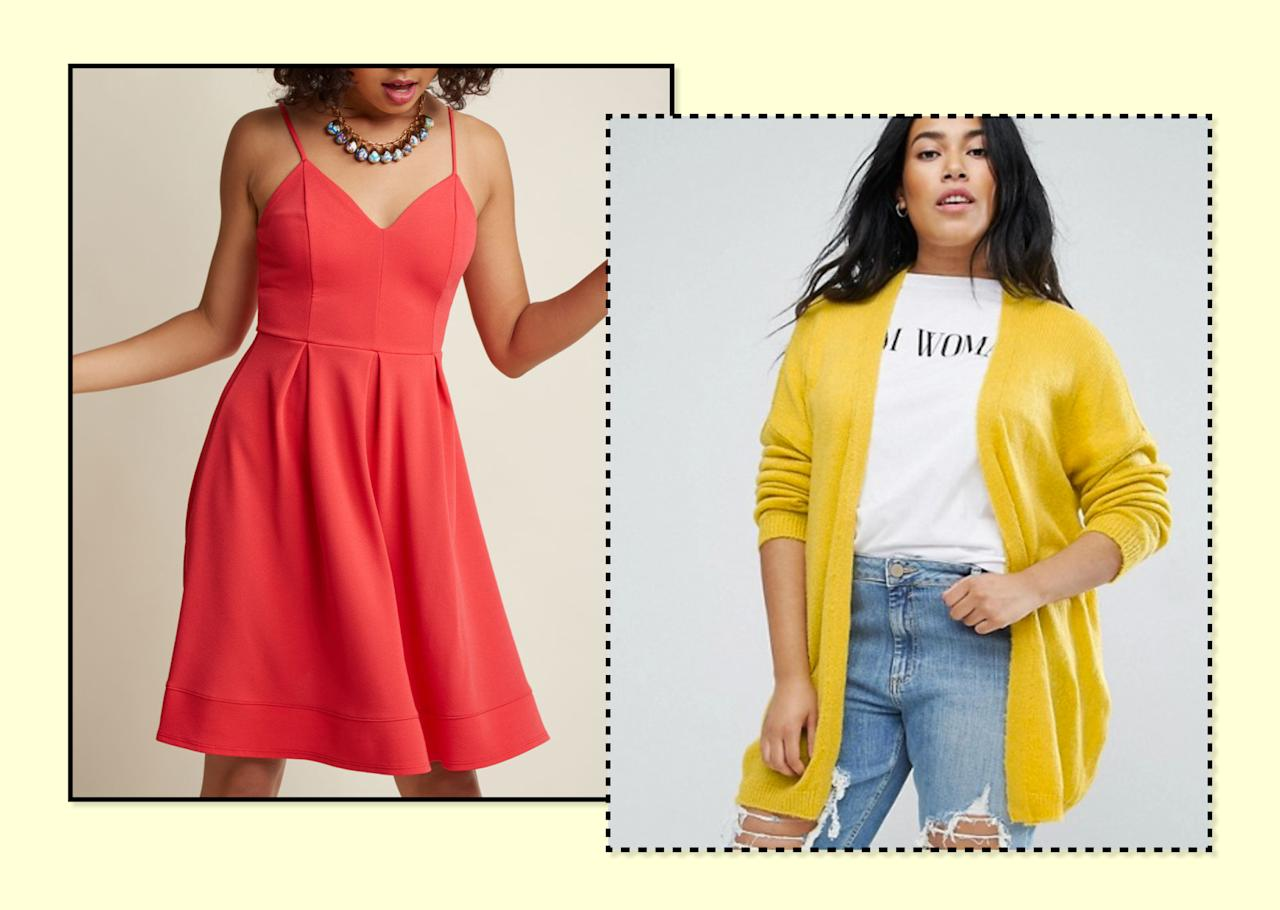 "<p>You can keep wearing your favorite bright sundress — like this <a rel=""nofollow"" href=""https://www.modcloth.com/shop/party-dresses/v-neck-pleated-a-line-dress/153080.html?dwvar_153080_color=CORAL#sz=84&start=100"">ModCloth</a> V-Neck Pleated A-Line Dress, $60 — by slipping on an equally bright cardigan, like <a rel=""nofollow"" href=""http://us.asos.com/asos-curve/asos-curve-cardigan-in-fine-knit-fluffy-yarn/prd/8387096?clr=yellow&SearchQuery=curve+cardigan&pgesize=9&pge=0&totalstyles=9&gridsize=3&gridrow=2&gridcolumn=2"">ASOS</a> Curve's Cardigan in Fluffy Yarn, $40. (Photo: ModCloth/ASOS) </p>"