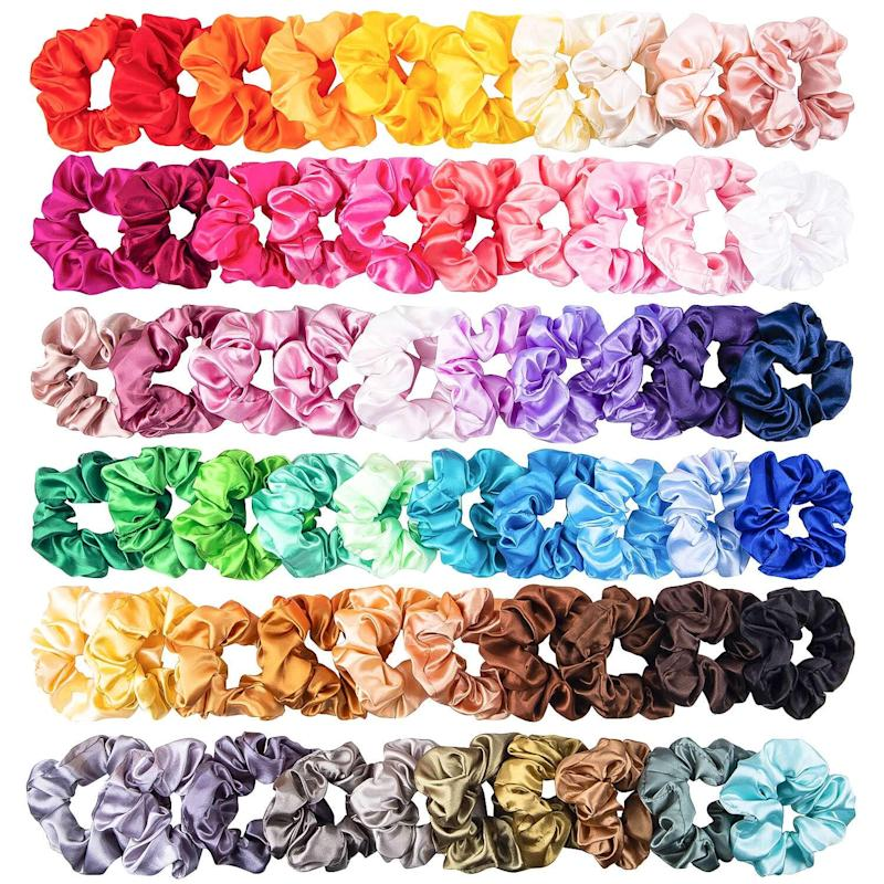 WATINC 60Pcs Silk Satin Hair Scrunchies Set