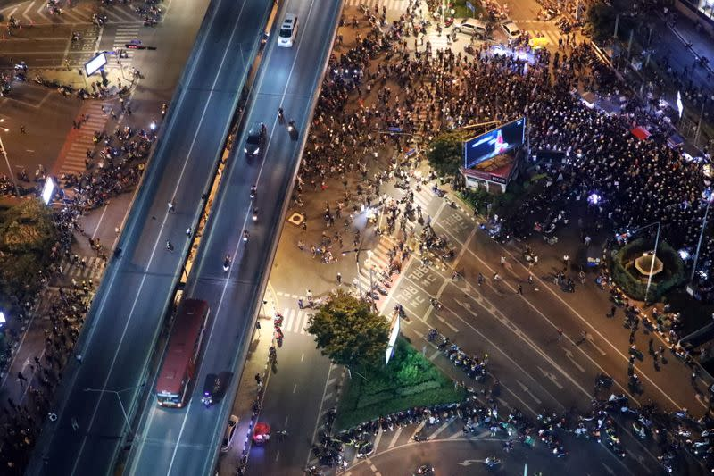 Pro-democracy protesters march to German Embassy in Bangkok