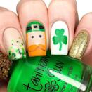 """<p>The most striking (not to mention, adorable) nail is the middle finger, which displays a leprechaun sporting a hat and full beard. Complemented by glittery gold, a clover and green dotted nails, this is for the St. Patrick's Day superfan. </p><p><a href=""""https://www.instagram.com/p/BgXh-ryBMOP/&hidecaption=true"""" rel=""""nofollow noopener"""" target=""""_blank"""" data-ylk=""""slk:See the original post on Instagram"""" class=""""link rapid-noclick-resp"""">See the original post on Instagram</a></p>"""