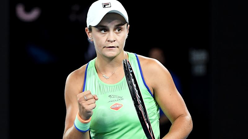Ash Barty, pictured, battled back from a set down to defeat Lesia Tsurenko in the first round of the Australian Open.