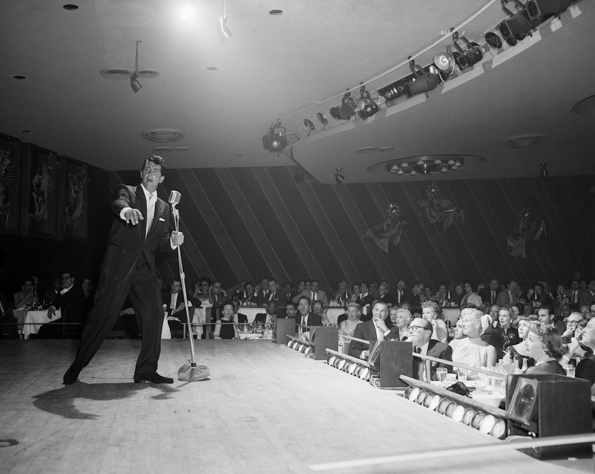 <p>Dean Martin performs at the Sands in 1957. The Copa Room was the showroom for the hotel, and it was the stage for some of the greatest names in the entertainment industry.</p>