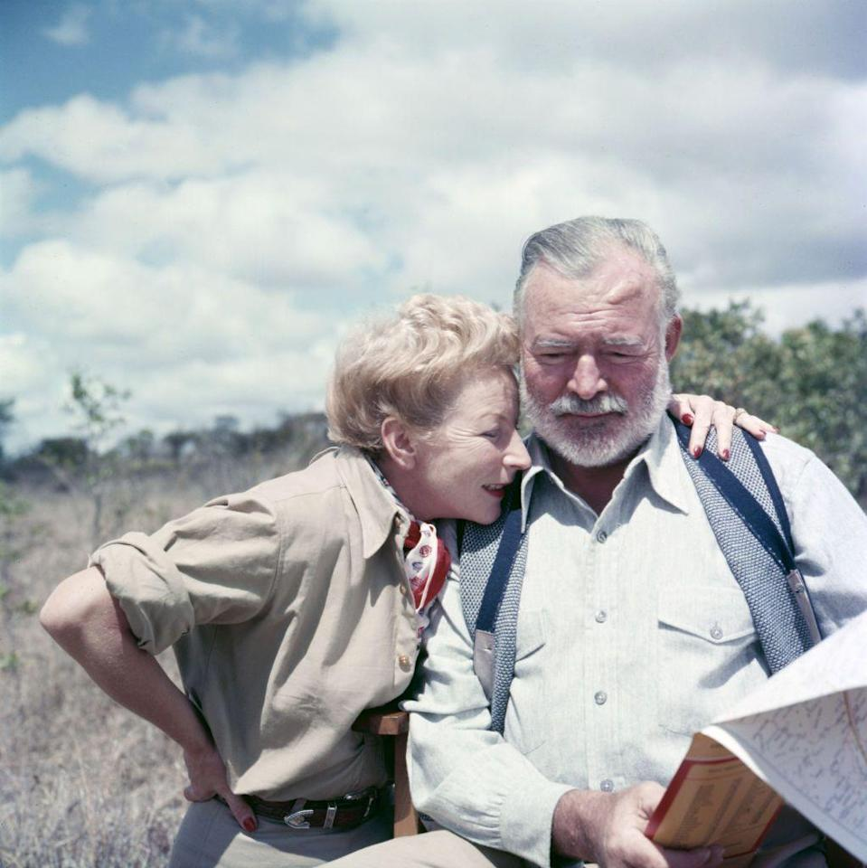 <p>A fan of big game hunting, Hemingway took many safaris in Africa during the '40s and '50s. Here, he's on safari with his wife, Mary. </p>