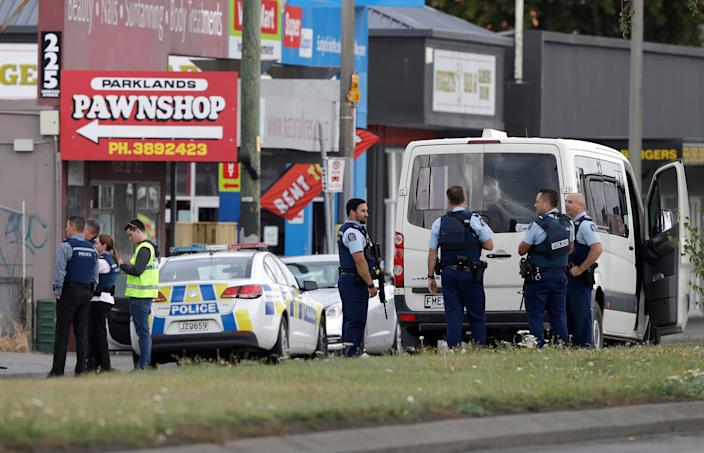 Police stand outside a mosque in Linwood, Christchurch, New Zealand, Friday, March 15, 2019. (Photo: Mark Baker/AP)