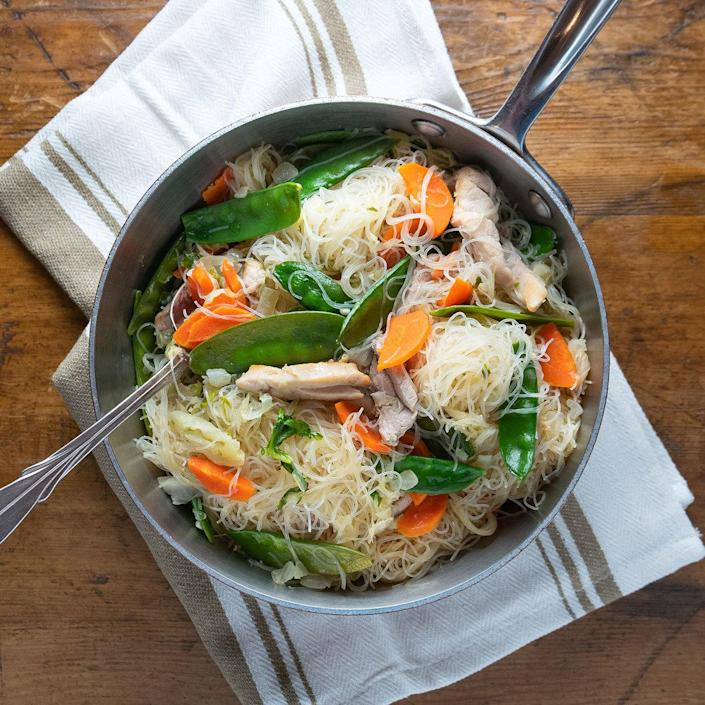 <p>This healthy version of the classic Filipino noodle dish pancit bihon has plenty of vegetables, along with chicken and pork. And since it comes together in about a half-hour, this traditional party food can do double duty as an easy weeknight dinner.</p>