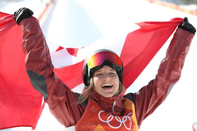 <p>Cassie Sharpe of Canada celebrates winning Gold in the Women's Halfpipe final at Phoenix Snow Park on February 20, 2018 in Pyeongchang-gun, South Korea. (Photo by Ian MacNicol/Getty Images) </p>