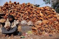 A man sits next to a pile of firewood at a market in Sanaa