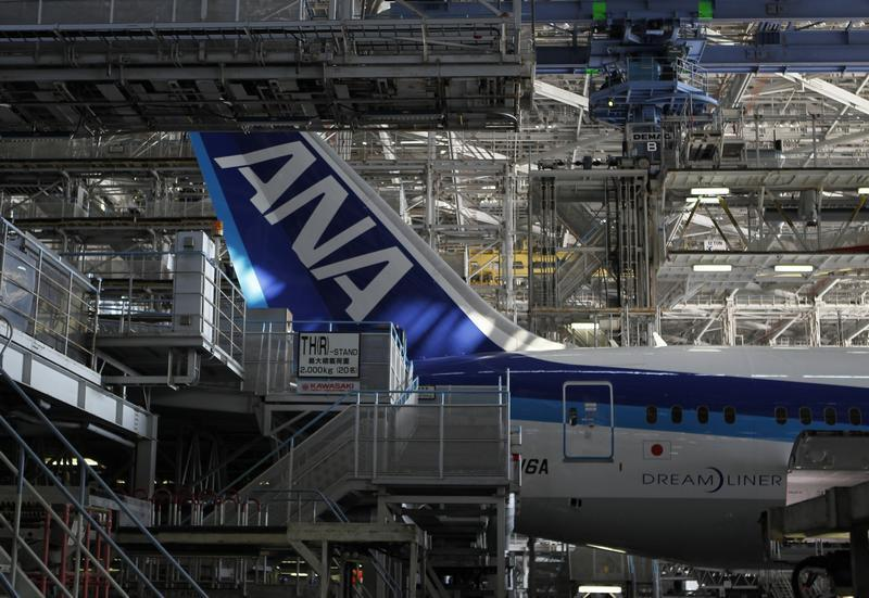 An All Nippon Airways' Boeing 787 Dreamliner aircraft is seen at ANA's maintenance center in Tokyo