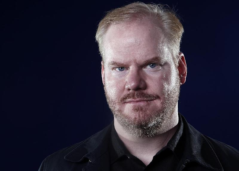 In this April 4, 2012 photo, comedian Jim Gaffigan poses for a portrait in New York. Gaffigan announced that his latest comedy special will be released via his web site for a small fee, and that a portion of the proceeds will benefit the Bob Woodruff Foundation.  (AP Photo/Carlo Allegri)
