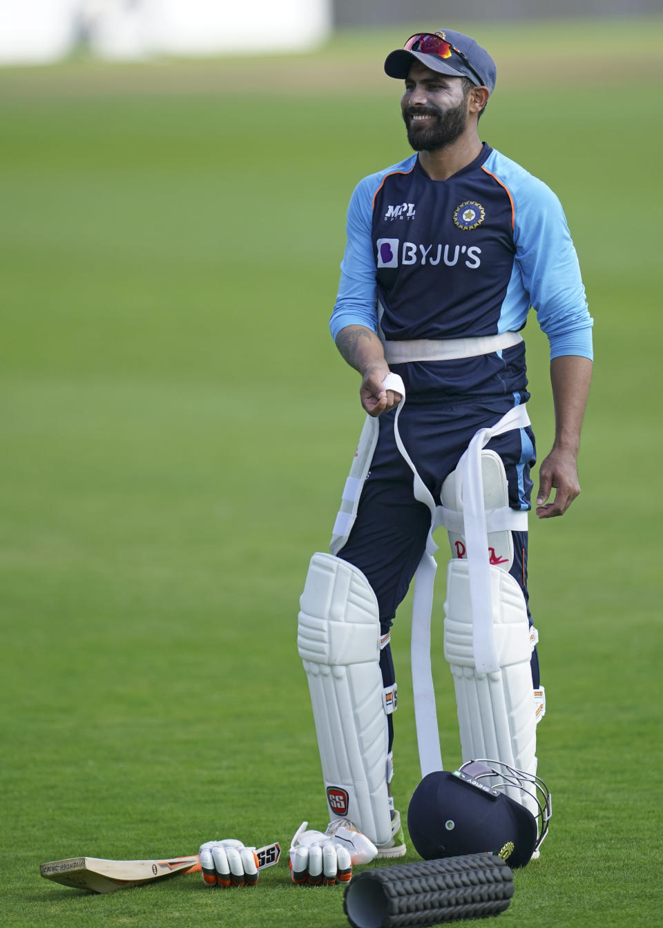 India's Ravindra Jadeja prepares to bat during a nets session at Headingley cricket ground in Leeds, England, Monday, Aug. 23, 2021, ahead of the 3rd Test cricket match between England and India. (AP Photo/Jon Super)