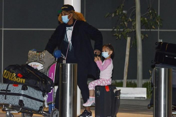 Serena Williams and her daughter arrive in Adelaide where they, along with other superstars such as Naomi Osaka, Novak Djokovic and Rafael Nadal, have been allowed to quarantine ahead of the Australian Open
