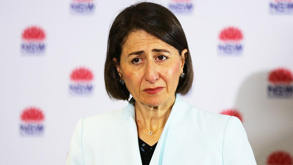 Gladys Berejiklian (pictured) has come under fire again for tightening restrictions in NSW, but allowing the SCG Test to go ahead with thousands of fans. (Getty Images)