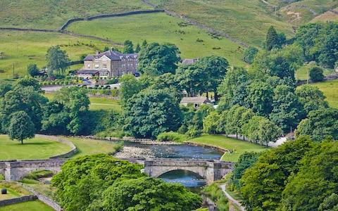 arial shot of the devonshire fell, in skipton, yorkshire