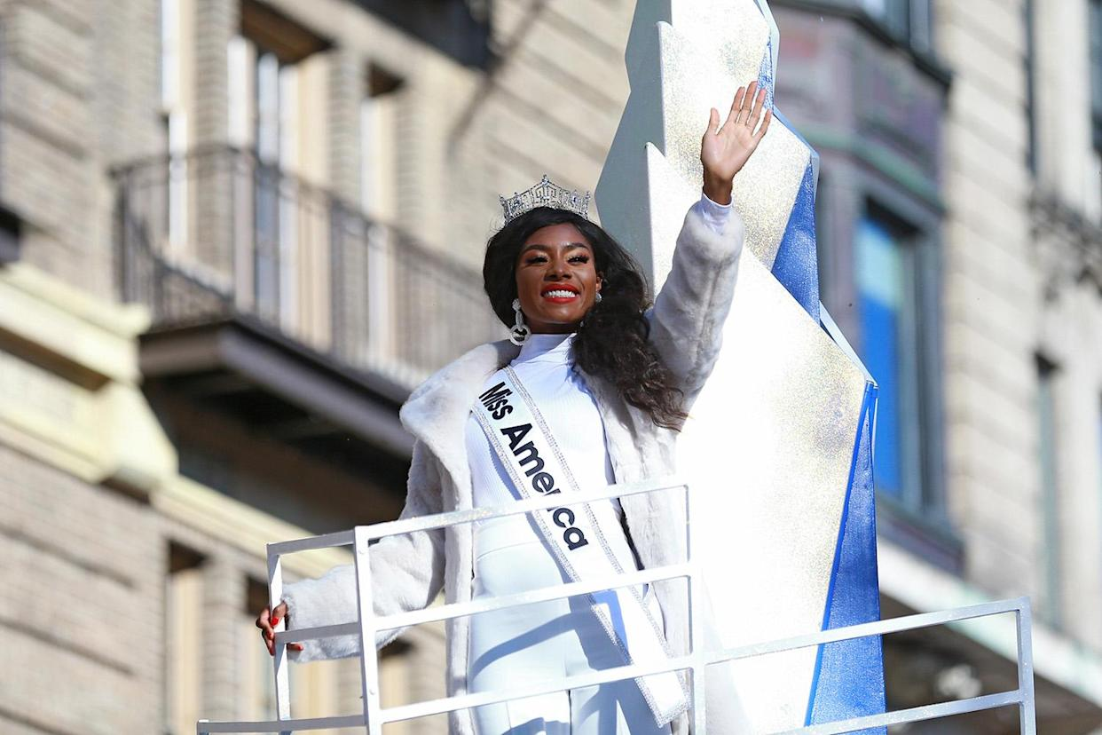 Miss America 2019, Nia Franklin rides on board the Big City Cheer! Float from Spirit of America Productions in the 93rd Macy's Thanksgiving Day Parade. (Photo: Gordon Donovan/Yahoo News)