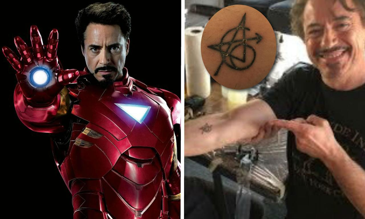 <p>Yep, Robert Downey Jr joined the entire original <i>Avengers</i> line-up (well, except Mark Ruffalo – tattoos make Hulk angry) in getting a strange symbol (which features design contributions from each of the actors) to celebrate the MCU's first team-up film. It was probably particularly special for RDJ, with <i>Iron Man</i> basically totally transforming his life. </p>