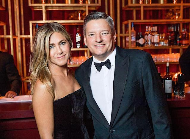 <p>Also at the Netflix soiree was Jennifer Aniston. No word yet on whether she crossed paths with Angelina Jolie, but the <em>Friends</em> star certainly had a powerful squad — she was photographed hanging out with Ted Sarandos, Netflix's chief content officer. (Photo: Netflix via Getty Images) </p>