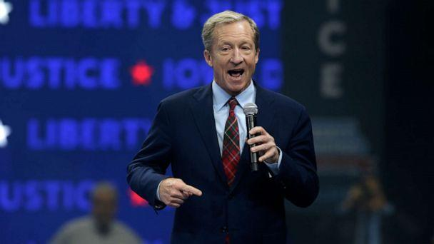 PHOTO: Democratic presidential candidate businessman Tom Steyer speaks during the Iowa Democratic Party's Liberty and Justice Celebration, Friday, Nov. 1, 2019, in Des Moines, Iowa. (Nati Harnik/AP)