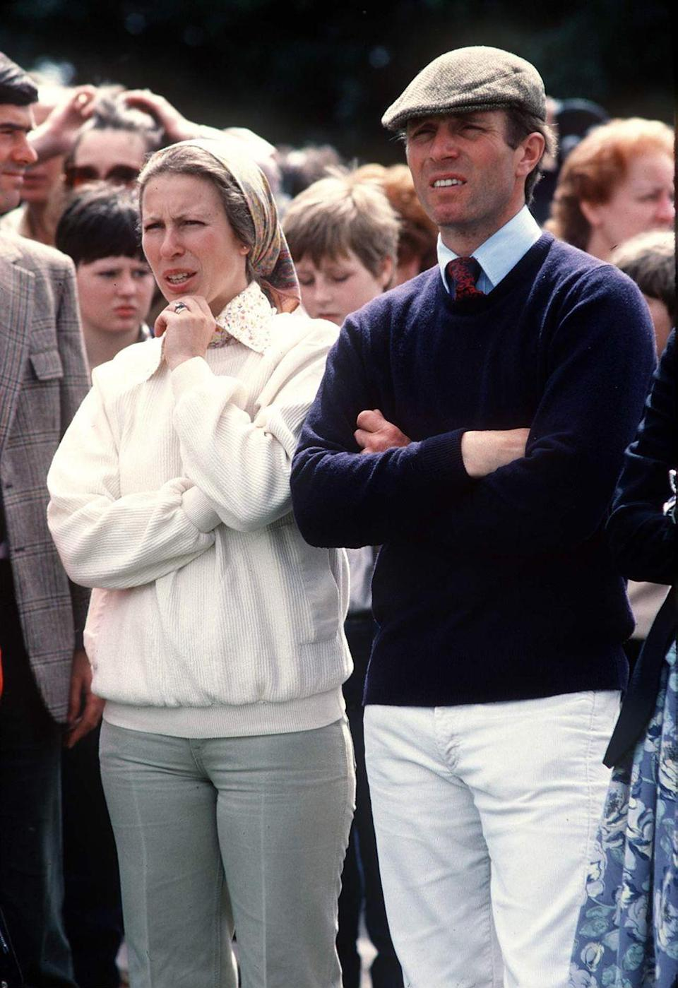 """<p>The Queen's only daughter, Princess Anne, announced her divorce from Captain Mark Phillips in 1989, which was finalized in 1992. The couple had been married since 1973 and shared two children. The Princess <a href=""""https://www.nytimes.com/1992/12/06/world/princess-anne-to-remarry.html"""" rel=""""nofollow noopener"""" target=""""_blank"""" data-ylk=""""slk:married Timothy Laurence"""" class=""""link rapid-noclick-resp"""">married Timothy Laurence</a> shortly after her divorce was finalized.</p>"""