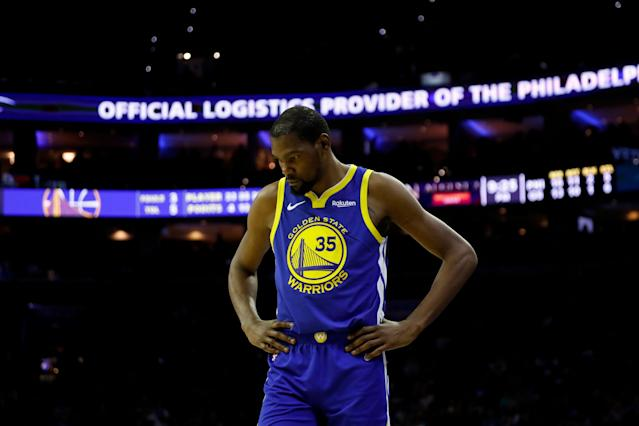 """<a class=""""link rapid-noclick-resp"""" href=""""/nba/players/4244/"""" data-ylk=""""slk:Kevin Durant"""">Kevin Durant</a> and the Warriors are the only team with a five-game week ahead. (AP Photo/Matt Slocum)"""