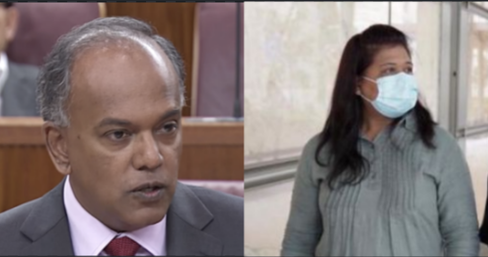 PHOTOS: Law and Home Affairs Minister K Shanmugam (screengrab) and Parti Liyani (HOME volunteer Grace Baey)