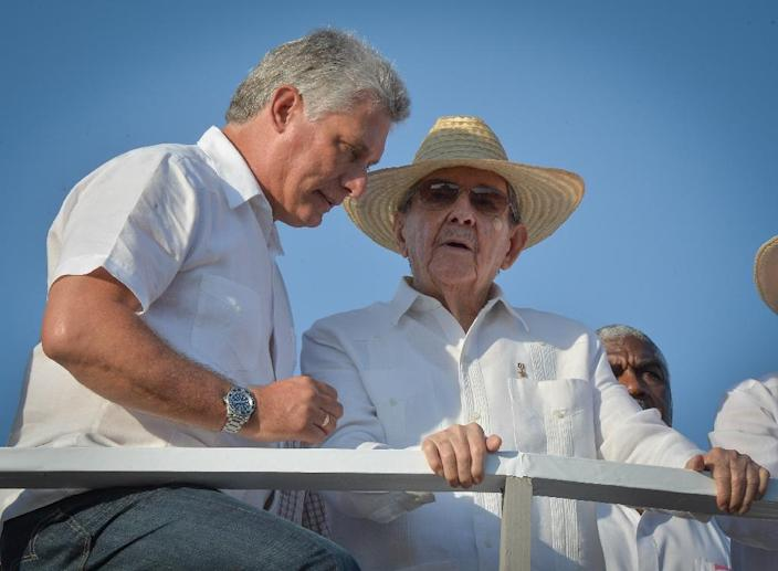 "Vice-President Miguel Diaz Canel (L), pictured in May 2016 with Cuban President Raul Castro, has ministerial experience that would make him a natural successor for the presidency but lacks what analysts describe as ""influence in the armed forces"" (AFP Photo/ADALBERTO ROQUE)"