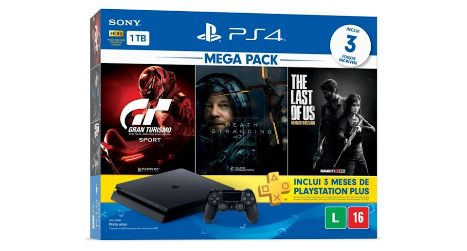 Console Playstation 4 Hits 1 TB com Gran Turismo + Death Stranding + The Last of Us