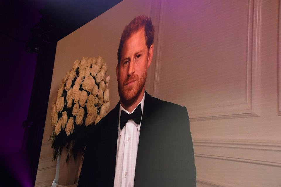 LONDON, ENGLAND - SEPTEMBER 01: Prince Harry, Duke of Sussex appears via video link  at the 24th GQ Men of the Year Awards in association with BOSS at Tate Modern on September 1, 2021 in London, England.  (Photo by David M. Benett/Dave Benett/Getty Images for Hugo Boss UK)
